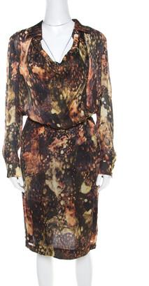 Escada Multicolor Fantasy Print Silk Wrap Bodice Davanee Shirt Dress M