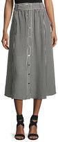 A.L.C. Divya Belted Striped Silk Midi Skirt, Black/White