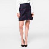 Paul Smith Women's Navy Windowpane Check Wool-Cashmere Skirt