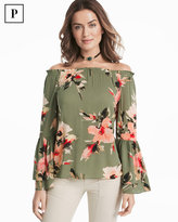 White House Black Market Petite Off-the-Shoulder Floral Blouse