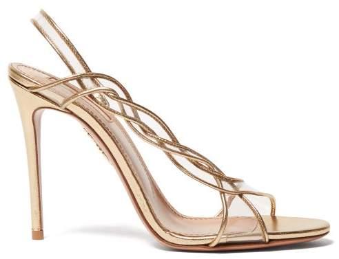 Aquazzura Swing 105 Pvc And Leather Slingback Sandals - Womens - Gold