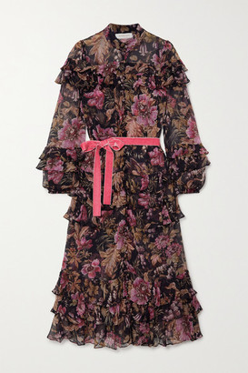 Zimmermann Lucky Belted Ruffled Tiered Floral-print Silk-chiffon Midi Dress - Pink