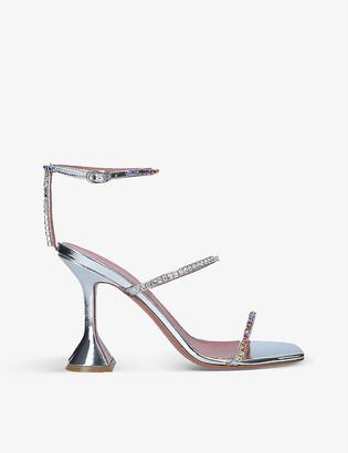 Amina Muaddi Gilda crystal-embellished satin heeled courts