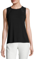 Elie Tahari Murphy Sleeveless Lace-Trim Knit Top, Black