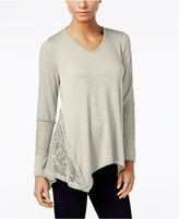 Style&Co. Style & Co. Petite Crochet-Trim Asymmetrical Top, Only at Macy's