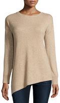 Neiman Marcus Metallic Asymmetric Cashmere Sweater