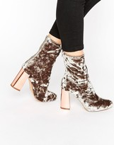 Missguided Velvet Block Heeled Sock Boots