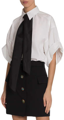 Givenchy Short-Sleeve Heavy Cotton Blouse with Contrast Tie