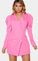 Jandb Hot Pink Puff Sleeve Pearl Button Blazer Dress