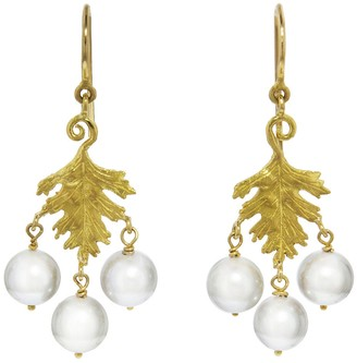Cathy Waterman Pearl Leaf Earrings - Yellow Gold