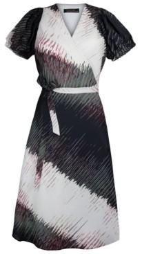 Christian Siriano New York Abstract-Print Chiffon Faux-Wrap Midi Dress