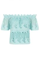 Quiz Aqua Crochet Bardot Top