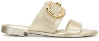 Salvatore Ferragamo Gancini metallic flat sandals
