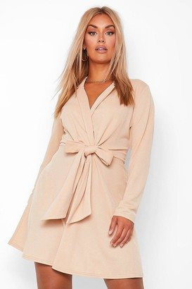 boohoo Plus Crepe Tie Front Skater Dress