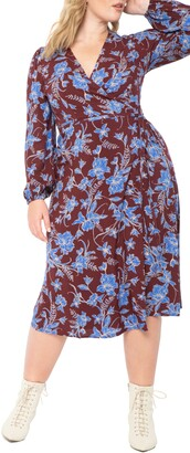 ELOQUII Floral Long Sleeve Midi Wrap Dress