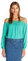 Blu Pepper Women's Long Sleeve Cold Shoulder Top