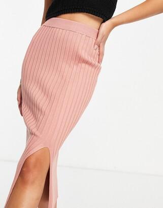 Monki Loa ribbed midi skirt in pink