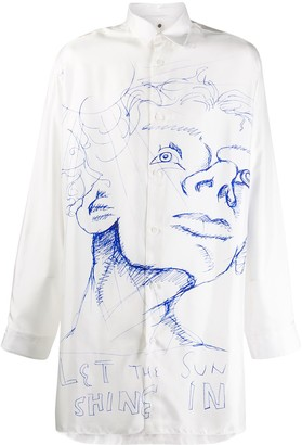 Oamc sketch-print silk shirt