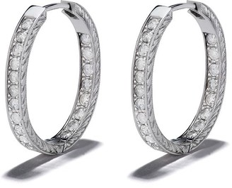 Loree Rodkin 14kt White Gold Large Etched Diamond Pave Hoop Earrings