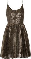 Isabel Marant Lilia pleated metallic silk-blend georgette mini dress