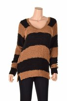 Sanctuary Brown Women'sarge Stripe Knit V-Neck Sweater Back