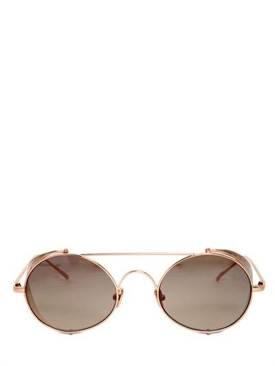 Linda Farrow Rounded Watersnake & Metal Sunglasses