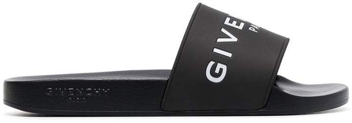 Givenchy black and white logo rubber slides