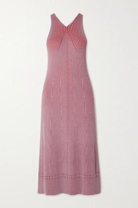 Proenza Schouler White Label Ribbed-knit Midi Dress - Tomato red