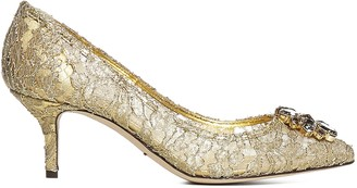 gold lace up pumps