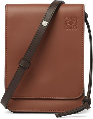Loewe Logo-Debossed Leather Messenger Bag