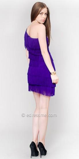 eDressMe Purple One Shoulder Fringe Club Dresses
