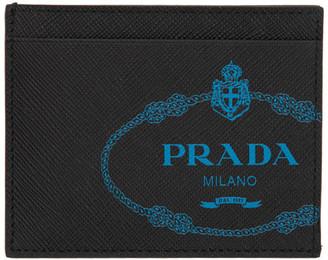 Prada Black Saffiano Logo Card Holder