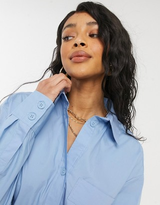 Monki Carol cotton poplin midi shirt dress in blue
