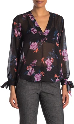 Rachel Roy Floral Long Tie Sleeve Chiffon Top