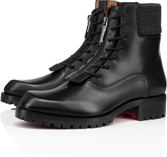 Christian Louboutin Men's Moscou Zip Red Sole Combat Boots