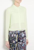 Theory Green Rosita Double Georgette Silk Shirt