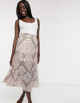 Miss Selfridge maxi skirt in paisley print
