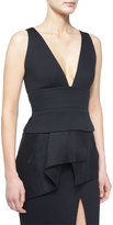 Donna Karan Sleeveless Plunge-Neck Peplum Top, Black