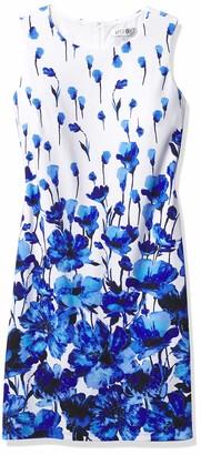 Kasper Women's Border Floral Printed Scuba Sleeveless Sheath Dress