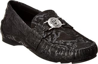 Versace Medusa Python-Embossed Leather Loafer