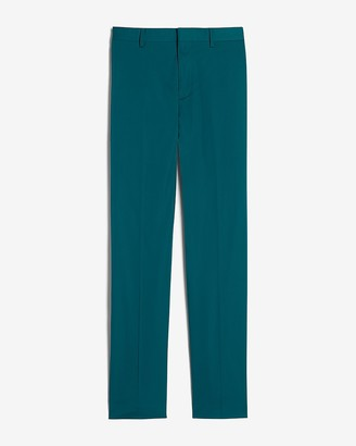 Express Extra Slim Solid Teal Cotton Sateen Suit Pant