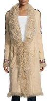Haute Hippie Embellished Fur Coat, Buff