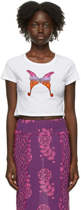 Anna Sui SSENSE Exclusive White & Pink Hiroshi Tanabe Edition Butterfly Baby T-Shirt