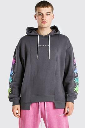 boohoo Mens Grey Oversized Spliced Hem Palm Sleeve Print Hoodie, Grey