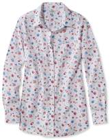 L.L. Bean Wrinkle-Free Pinpoint Oxford Tunic, Long-Sleeve Slightly Fitted Floral