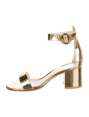 Gianvito Rossi Patent Leather Sandals Gold