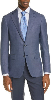Canali Kei Trim Fit Check Silk & Wool Sport Coat