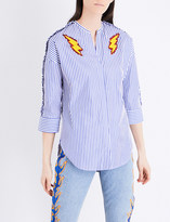 Sandro Lightning bolt-embroidered striped cotton shirt