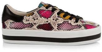 Alice + Olivia Ezra Snakeskin-Print Leather Sneakers