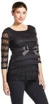 MaCherie Maternity 3/4 Sleeve Belted Lace Top Black S - Ma Cherie